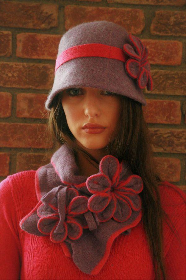 Vintage Blossom Hat HAT4-4 Linda Wilson Irish Knitwear Designer