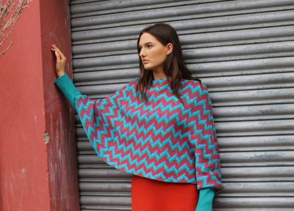 ZigZag Poncho Style Jumper 1 Linda Wilson Irish Knitwear Designer Limerick
