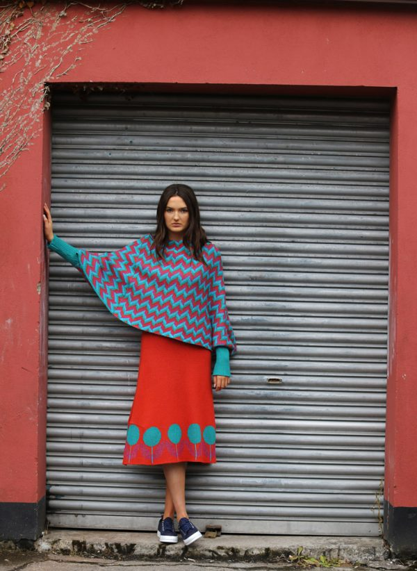 ZigZag Poncho Style Jumper 2 Linda Wilson Irish Knitwear Designer Limerick