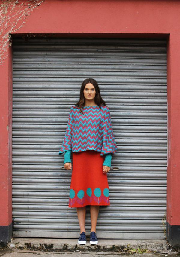 ZigZag Poncho Style Jumper 3 Linda Wilson Irish Knitwear Designer Limerick