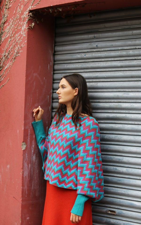 ZigZag Poncho Style Jumper 4 Linda Wilson Irish Knitwear Designer Limerick