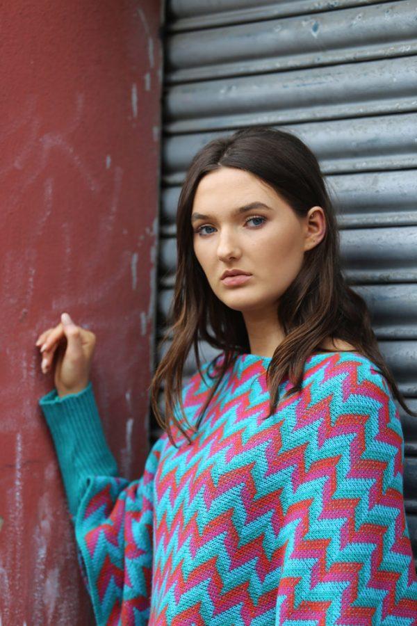 ZigZag Poncho Style Jumper 5 Linda Wilson Irish Knitwear Designer Limerick